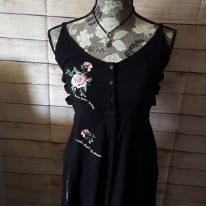 Topshop Black Embroidered Long Dress, Size 6